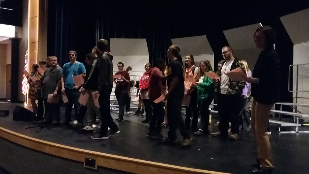 "Practicing ""Romeo and Juliet"" in the PAC"
