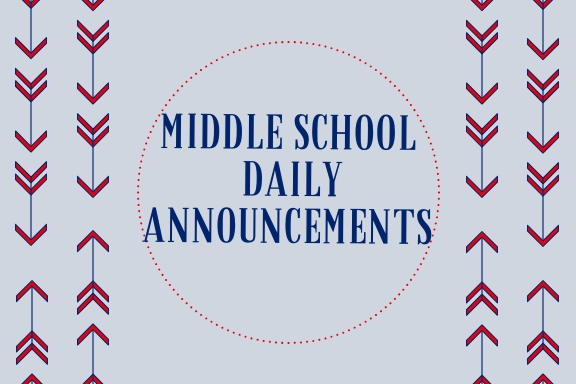 Middle School Announcements 11.29.2018