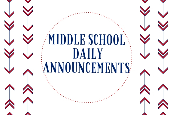 Middle School Announcements 2.1.2019