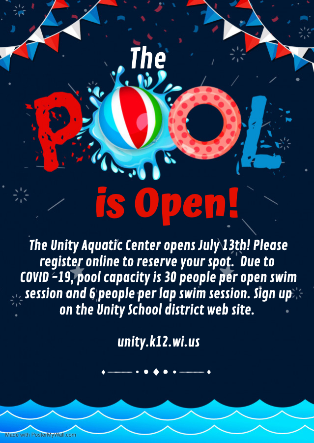 Unity Aquatic & Fitness Center Opening July 13th!